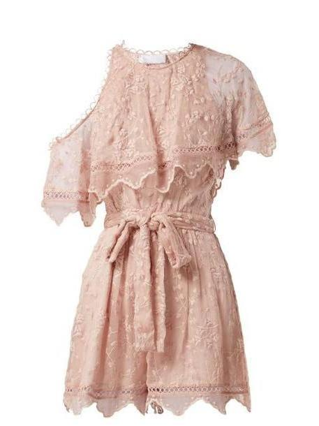 Zimmermann - Castile Embroidered Silk Chiffon Playsuit - Womens - Light Pink cover image