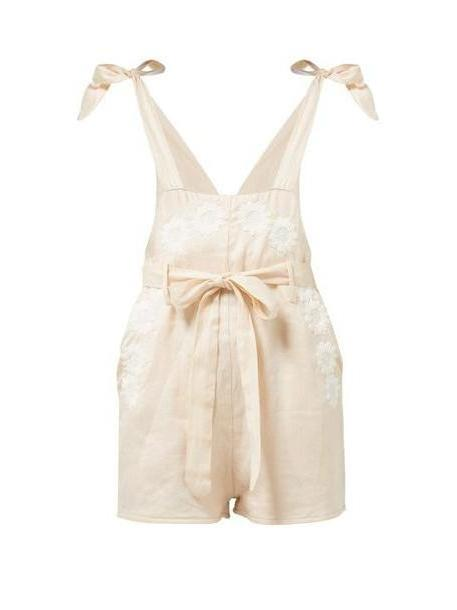 Innika Choo - Floral Embroidered Linen Playsuit - Womens - Pink cover image