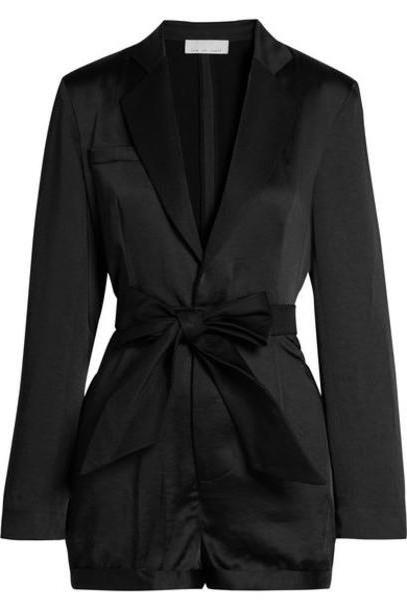 Fleur du Mal - Belted Faille-trimmed Satin Playsuit - Black cover image